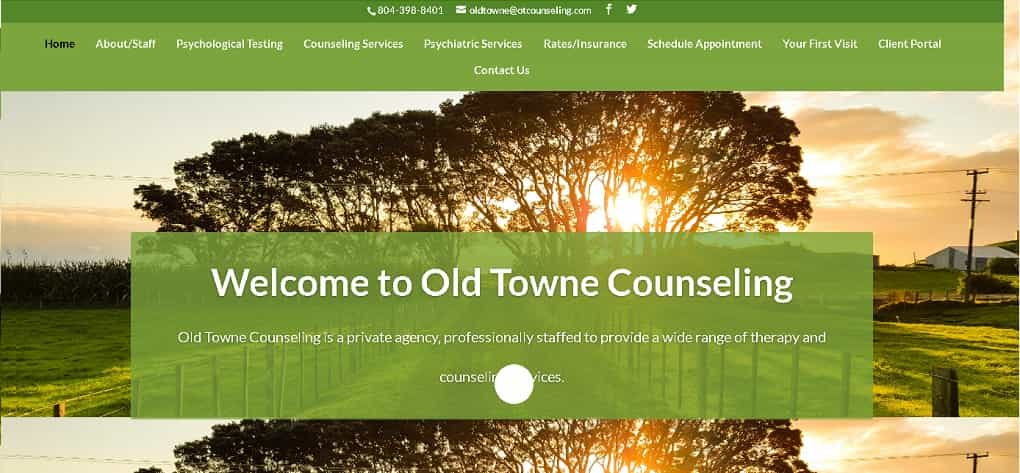 Old Towne Counseling Website Design Before we redesigned it.