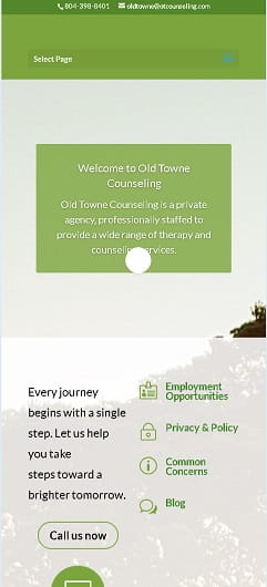 Old Towne Counseling Website Mobile Design Before we redesigned it.