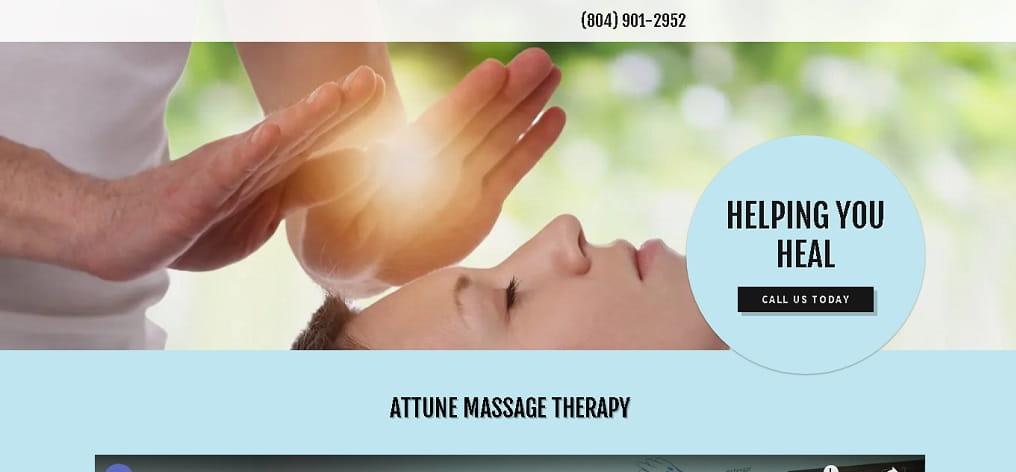 Attune Massage Therapy Desktop Version - Before Redesign