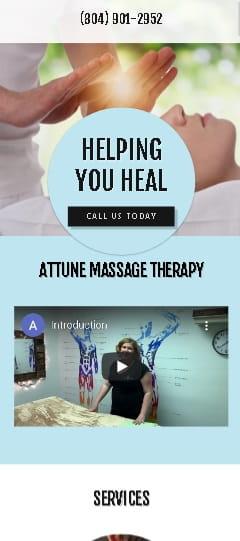 Attune Massage Therapy Mobile Version - Before Redesign