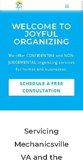 Joyful Organizing Website Design Mobile Version designed by The Styles Agency.