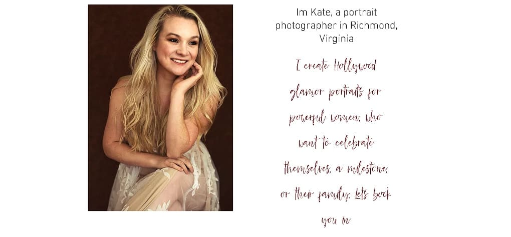 Kate Styles Photography Previous Website Design.
