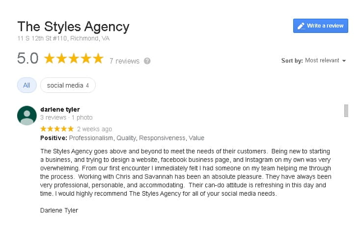 "The Google Review says, ""The Styles Agency goes above and beyond to meet the needs of their customers. Being new to starting a business, and trying to design a website, facebook business page, and Instagram on my own was very overwhelming. From our first encounter I immediately felt I had someone on my team helping me through the process. Working with Chris and Savannah has been an absolute pleasure. They have always been very professional, personable, and accommodating. Their can-do attitude is refreshing in this day and time. I would highly recommend The Styles Agency for all of your social media needs."""