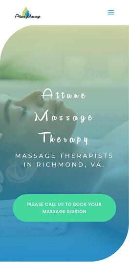 Attune Massage Therapy New Website Screenshot - Mobile Version
