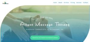 Attune Massage Therapy New Website Screenshot - Desktop Version
