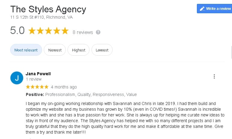 The Styles Agency Website Design Review from Attune Massage Therapy