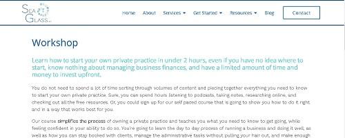 Private Practice Workshop Landing Page Copy