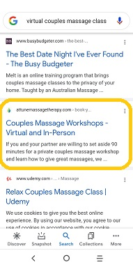 virtual couples massage class - Google Search results